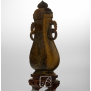 Vase balustre couvert en oeil-de-tigre