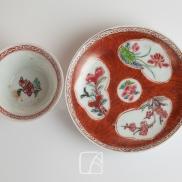 """Sorbet et son présentoir en porcelaine à décor """"faux bois"""", 18ème"""