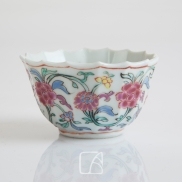 Sorbet et son présentoir en porcelaine de la famille rose, 18ème